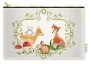 Woodland Fairytale - Grey Animals Deer Owl Fox Bunny N Mushrooms Carry-all Pouch