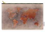 World Map Brown Carry-all Pouch