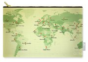 World Map Countries Cities Straight Pin Vintage Carry-all Pouch