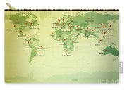 World Map Miller Cities Straight Pin Vintage Carry-all Pouch