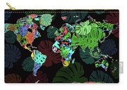 World Map Monstera Leaves  8 Carry-all Pouch