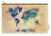 World Map Oceans And Continents Art Carry-all Pouch