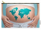 World Map Painted On Pregnant Woman's Belly Carry-all Pouch