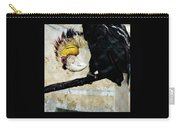 Wreathed Hornbill Perching Against Vintage Concrete Wall Backgro Carry-all Pouch