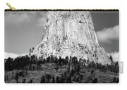 Wyoming Devils Tower National Monument With Climbers Bw Carry-all Pouch