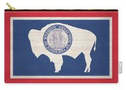 Wyoming Rustic Flag On Wood Carry-all Pouch