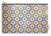 Yellow And Blue Circle Tile Carry-all Pouch