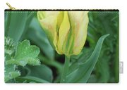 Yellow And Green Striped Tulip Flower Bud Carry-all Pouch