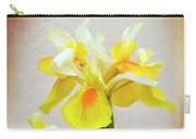 Yellow And White Iris Textured Carry-all Pouch