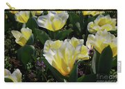 Yellow And White Tulips Flowering In A Garden Carry-all Pouch