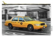 Yellow Cab In Manhattan In A Rainy Day. Carry-all Pouch
