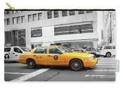 Yellow Cab In Manhattan With Black And White Background Carry-all Pouch