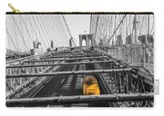 Yellow Cab On Brooklyn Bridge, New York 3 Carry-all Pouch