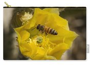 Yellow Cactus Flower With Wasp Carry-all Pouch