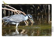 Yellow Crowned Night Heron Catches A Crab Carry-all Pouch