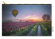Yellow Hot Air Balloon Over Tulip Field In The Morning Tranquili Carry-all Pouch