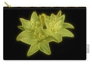 Yellow Lilies On Black Carry-all Pouch by Sandy Keeton