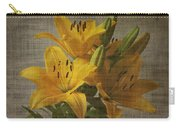 Yellow Lilies With Old Canvas Texture Background Carry-all Pouch
