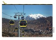 Yellow Line Cable Cars And Mt Illimani La Paz Bolivia Carry-all Pouch