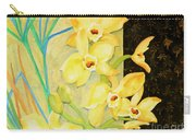 Yellow Orchids With Black Screen Carry-all Pouch