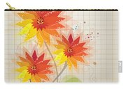 Yellow Red Floral Illustration Carry-all Pouch