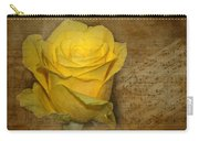 Yellow Rose With Old Notes Paper On The Background Carry-all Pouch