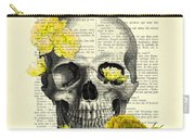 Skull With Yellow Roses Dictionary Art Print Carry-all Pouch