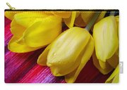 Yellow Tulips With Dew Drops Carry-all Pouch