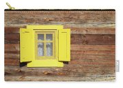 Yellow Window On Wooden Hut Wall Carry-all Pouch