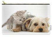 Yorkshire Terrier And Tabby Kitten Carry-all Pouch