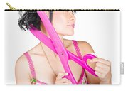 Young Beautiful Woman Cutting Hair At Beauty Salon Carry-all Pouch