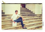 Young Businessman Sitting On Stairs, Relaxing Outside Carry-all Pouch