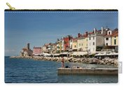 Young Couple Fishing Reading Sunbathing On Dock At Piran Sloveni Carry-all Pouch