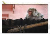 Young Female Asian Monkey Sitting On The Roof Carry-all Pouch