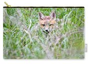 Young Fox Kit Hiding In Tall Grass Carry-all Pouch
