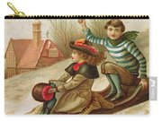 Young Girl And Boy Tobogganing, Victorian Christmas And New Year Card Carry-all Pouch