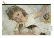 Young Girl And Cat Carry-all Pouch