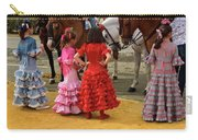 Young Girls In Flamenco Dresses Looking At Horses At The April F Carry-all Pouch