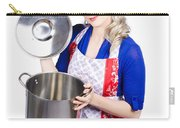 Young Housewife Lifting Lid On A Home Cooking Pot Carry-all Pouch