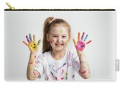 Young Kid Showing Her Colorful Hands Carry-all Pouch