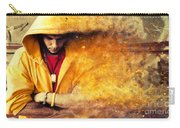 Young Man In Hooded Sweatshirt On Grunge Wall Carry-all Pouch
