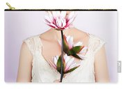Young Romantic Woman With Lotus Flowers Carry-all Pouch
