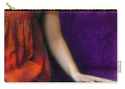 Young Woman In Red On Purple Couch Carry-all Pouch by Jill Battaglia