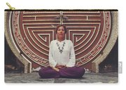 Young Woman Sitting And Meditating In A Lotus Position In Front Of A Unique Doors Carry-all Pouch