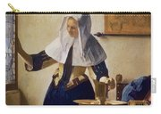 Young Woman With A Water Jug Carry-all Pouch by Jan Vermeer