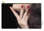 Young Woman With Red Lipstick Sensual Closeup Of Mouth Carry-all Pouch