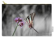 Zebra Swallowtail Butterfly And Stripes Carry-all Pouch