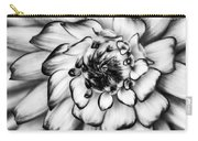 Zinnia Close Up In Black And White Carry-all Pouch