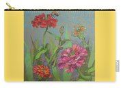 Zinnias With Bee Carry-all Pouch