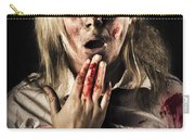 Zombie Woman Expressing Fear And Shock When Waking Carry-all Pouch